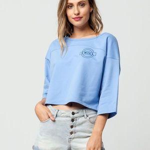 NWT Tilly's blue Chill crop sweatshirt